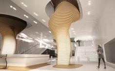 Ora Ito, Modern Contemporary, Modern Design, Shopping Mall Interior, Corridor Design, Interior Columns, Mall Design, Column Design, Hotel Lobby