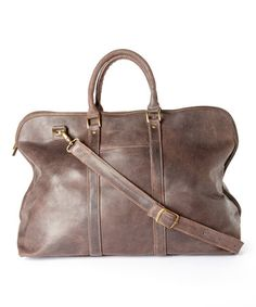 Chocolate Distressed Leather Getaway Duffel Bag #zulily #zulilyfinds