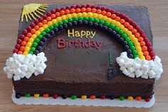 Night Baking: taste the rainbow - Cake Decorating Simple Ideen Chocolate Birthday Cake Decoration, Birthday Cake Decorating, Chocolate Birthday Cake Kids, Chocolate Cake, 6th Birthday Cakes, Rainbow Birthday, Boy Birthday, Rectangle Cake, Indian Cake