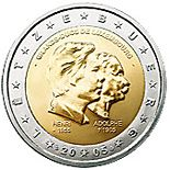 2 euro 50th birthday of Grand Duke Henri, 5th anniversary of his accession to the throne and 100th anniversary of the death of Grand Duke Ad...