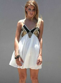 White Sleeveless Mini Dress with Sequin Bust Detail,  Dress, sequin dress  sleeveless dress, Chic