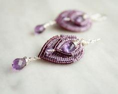 Beaded Chandelier Earrings, Amethyst and Sterling Silver Earrings, Victorian Style Jewelry by AnchoredArcher on Etsy https://www.etsy.com/listing/225475652/beaded-chandelier-earrings-amethyst-and