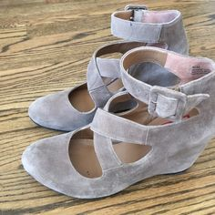 Suede wedges Excellent condition. Small blemishes are visible in pictures. Halogen Shoes Wedges