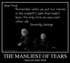 I'm going to cry! Fred's death was by far the worst for me. Twins should be together.