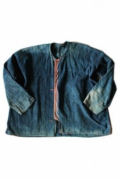 Asian vintage indigo cotton shirt/Vietnam tribal Red Dao/natural indigo dyed/hand stitched/embroideryied/small/faded indigo/290