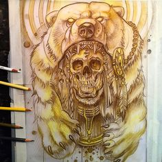 Polar bear warrior sketch up for grabs! ✏️#pencil #sketch #polarbear @electricgrizzlytattoo @worldofpencils #artcollective