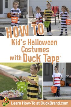 Make DIY crafts using Duck Tape® brand duct tape. Learn how to make a classic duct tape wallet, or browse hundreds of simple crafts for kids and advanced… Halloween Costumes For Kids, Fall Halloween, Halloween Crafts, Halloween Customs, Halloween Ideas, Easy Crafts For Kids, Fun Crafts, Duct Tape Crafts, Family Costumes