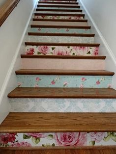 Pink and Aqua Wallpapers from Seabrook for the staircase. Antique but with a bold Cabbage Rose pattern. Uploaded by rickijilltrip. - Another cute staircase idea.