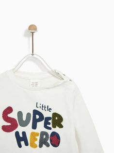 "Image 4 of ""LITTLE HERO"" PLUSH SUIT from Zara Baby Embroidery, Zara Baby, Kind Mode, Summer Collection, Slogan, Boy Outfits, Bermuda Shorts, Shirt Designs, Kids Fashion"