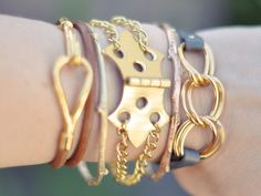 #DIY #Chain #Hardware #Hinge #Bracelet #Gold #Do #It #Yourself #HowTo #Create #Make #Accessory #Different #Unique #Hipster #Chains #Chain #Leather #Bracelets #Jewelry  http://www.lovemaegan.com/2012/06/diy-hinge-bracelet-w-gold-chains.html