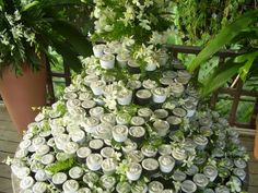 Amazing green & white wedding tiered cupcakes