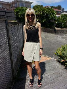 #Witchery skirt and top, #Lovisa necklace, #karenwalker sunglasses, #Mipiaci shoes.