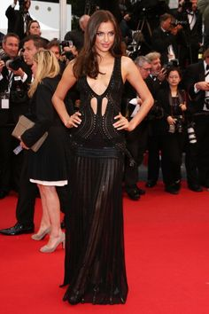 Irina Shayk in black and sexy Roberto Cavalli in Cannes 2013