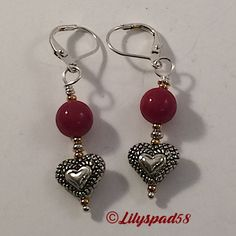 Beaded Earrings, Bohemian Jewelry, Southwest Red Jade Beads, Tierracast Silver Heart Bead, 24kt Gold Plate Accent Beads, Women's Jewelry