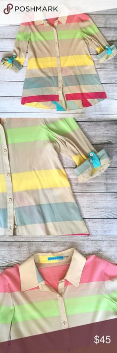 "Alice & Olivia Silk Striped Blouse Button down front. Uneven hemline. Rolled tab sleeves. Bust 18"". Length 24"". There is a small spot on the front near the hemline (see last photo). 🚫NO TRADES/NO MODELING🚫✅BUNDLE TO SAVE ✅ Alice + Olivia Tops Blouses"