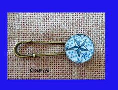 Broche rétro liberty adelajda bleu : Broche par crocmyys