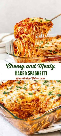 Southern Baked Spaghetti contains several indulgent layers of rich and meaty Bolognese, pasta and luscious cheesy creamy filling making this THE dish to serve at every potluck, game day and celebration you have! The flavor is INSANE! Casserole Recipes, Pasta Recipes, Beef Recipes, Cooking Recipes, Healthy Recipes, Cheesy Spaghetti, Pasta Spaghetti, Pizza Baked Spaghetti, Spaghetti Bake Recipe Easy