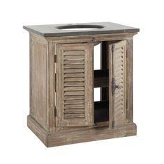 Mobile in legno riciclato e marmo per lavandino L 80 cm | Maisons du Monde