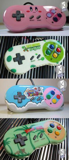 Custom SNES Controllers by Komet Custom. Kirby, Yoshi, TwinBee, Donkey Kong
