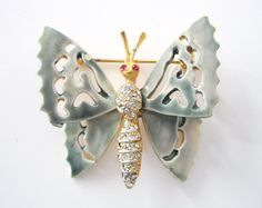Vintage Butterfly Brooch Signed Capri by LovesVintageDelights
