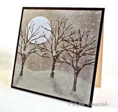 Impression Obsession Favorite Technique Challenge, Idea ink card all over, then add snow hills in white cardstock, then add white cardstock moon, and next stamp trees, falling snow with white gel pen