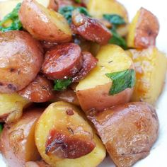 The salty-sweet combination of red potatoes, Polish sausage and brown sugar in this recipe is out-of-this-world good! Kielbasa And Potatoes, Sausage Peppers And Onions, Stuffed Peppers, Red Potato Recipes, Beef Recipes, Easy Recipes, Bacon Potato, Casserole Recipes, Main Dishes