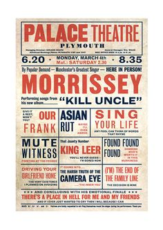 Morrissey 'Kill Uncle' Playbill Poster Print Music Hall Vaudeville Theatre Literary Print