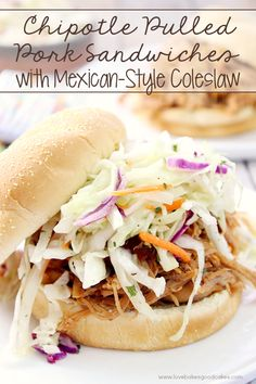 Chipotle Pulled Pork Sandwiches with Mexican-Style Coleslaw | Love Bakes Good Cakes