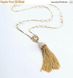 Collares collar borla oro larga borla collar por MidnightGirls