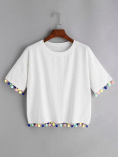 Drop Shoulder Pom Pom Tee