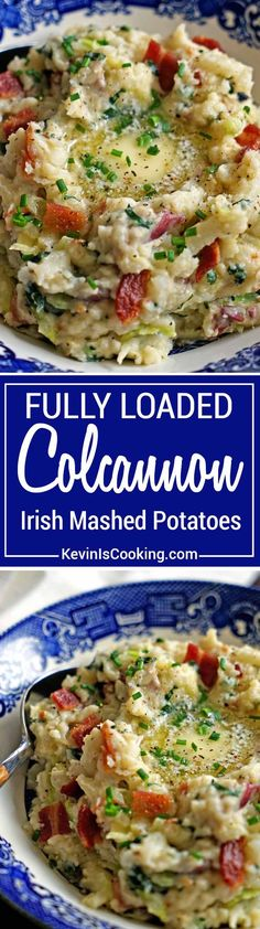 Colcannon Irish Mashed Potatoes - red potatoes, cream and garlic are mashed together with green cabbage and kale. Mine are topped with crisp bacon & butter! via @keviniscooking