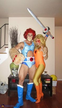 Lion-o & Cheetara - Halloween Costume Contest via @costumeworks. 1st Place for Most Creative Group 2012. Thundercats, Creative Costumes, Cool Costumes, Cosplay Costumes, Costume Ideas, Homemade Halloween, Homemade Costumes, Holidays Halloween, Halloween Decorations