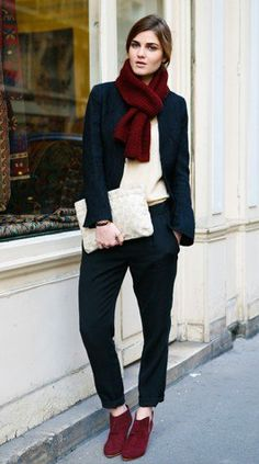 Burgundy scarf and ankle boots, dark blue (almost black) trousers and blazer, white blouse