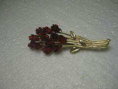 """Vintage Dozen Red Roses Bouquet Brooch, Goldtone, Signed DM 97, 2.25"""" long #DM976"""