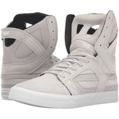 Supra Skytop II (Light Grey Suede/Embossed Suede) Men's Skate Shoes ($98) ❤ liked on Polyvore featuring men's fashion, men's shoes, beige, mens suede shoes, mens skate shoes and mens shoes