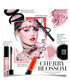 """""""Cherry Blossom"""" by mila-me ❤ liked on Polyvore featuring beauty, Givenchy, Bobbi Brown Cosmetics, Giorgio Armani, Too Faced Cosmetics, MAC Cosmetics, Pink, Beauty, red and pastel"""