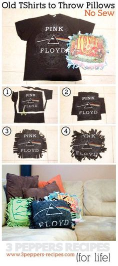 DIY old tshirt throw pillows (free-form) I swear these are so easy and fun! They only take 20 minutes! So making these for our new place! I have tons of old t shirts :-)