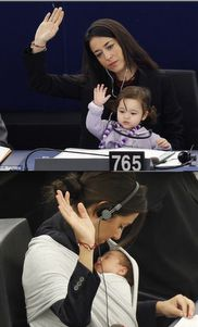 How sweet is this little girl voting with her mama in the European Parliament? <3