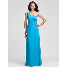 LAN+TING+BRIDE+Floor-length+Chiffon+Bridesmaid+Dress+-+Sheath+/+Column+One+Shoulder+Plus+Size+/+Petite+with+Side+Draping+–+USD+$+79.99