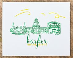 Baylor University Watercolor Painting 8x10 by TreadStudios