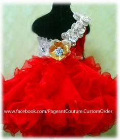 Glitz pageant red christmas babydoll dress N17  by PageantCouture, $335.00