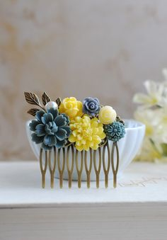 Grey Yellow Flowers Hair Comb. Wedding Bridal Hair Comb, Bridesmaid Hair Comb, Grey Yellow Wedding Accessory, Floral Collage Comb on Etsy, $28.00