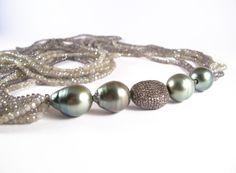 Robin Labb Grey moonstone, tahitian pearls and diamonds