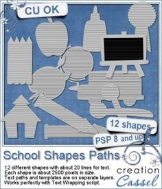 Here are 12 more text paths with a school theme. Each file includes a template and a vector path to keep all your text inside the shape.