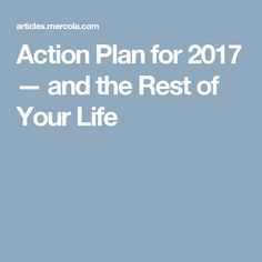 Action Plan for 2017 — and the Rest of Your Life