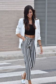 Women's spring summer fashion white blazer shirt+black tank crop top bare midriff shirt+high waist stripe wide leg pants trousers