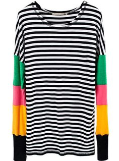 Black White Strip Contrast Colorful Long Sleeve T-Shirt