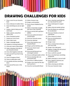 Are your kids wondering what to draw? Get this list of drawing prompts and fun things for kids to draw! Are your kids wondering what to draw? Get this list of drawing prompts and fun things for kids to draw! Drawing For Kids, Art For Kids, Crafts For Kids, Sketching For Kids, Summer Crafts, Drawing Ideas, Drawing Prompt, Art Prompts, Writing Prompts For Kids