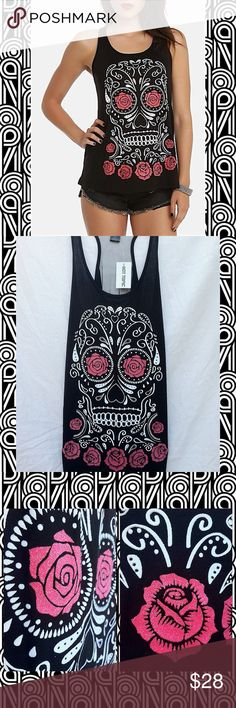 Teenage Runaway Sugar Skull Rose Girls Tank Top !Selling this cute tank top from Hot Topic! Originally from their brand 'Teenage Runaway'. This black racer back tank top has a large white sugar skull with pink roses as it's design on the front. It still contains it's original glitter and has a mesh panel down the back. Super comfy, light and loose. Sold out in stores as well ( including online ) !! ~ Feel free to comment with any questions or concerns you have on the following item. ~  Hot…
