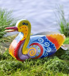 Our colorful Metal Folk Art Duck is one way-cool waterfowl! Hand-painted in vibrant colors with … Yard Sculptures, Garden Sculpture, Recycled Metal Art, Metal Garden Art, Concrete Garden, Charitable Donations, Art Populaire, Rock Crafts, Garden Statues
